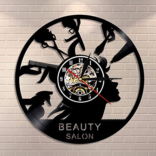 wtnhz LED Colorful vinyl wall clock Beauty salon shop decoration made of vinyl record hairdresser modern wall clock hair salon gift for hairdresser