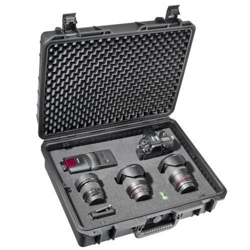 Mantona Outdoor Foto Schutz-Koffer L (geeignet für DSLR Kamera, GoPro Actioncam, Foto-Equipment uvm., Größe L, wasserdicht, stoßfest, staubdicht) schwarz