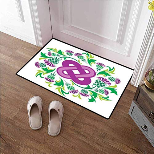 Front Door Mat Celtic Nursery Rug Playmat Rugs Eternal Life Symbol Celtic Motif Surrounded with Thistle Flower and Leaves Image for Home/Office/Bedroom Purple Green 20x32 inches