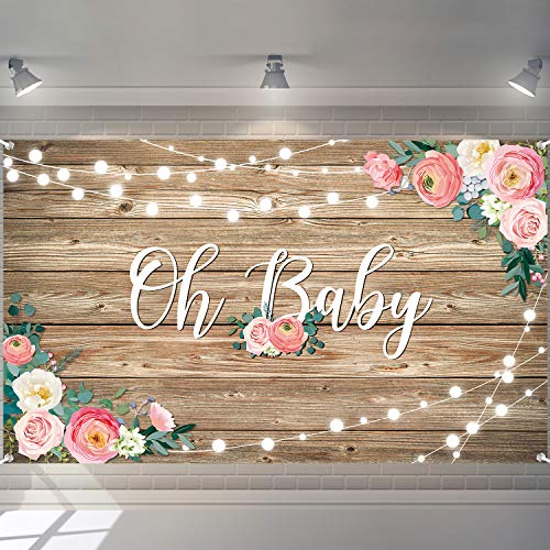 Rustic Wood Baby Shower Backdrop Banner Large Size Oh Baby Floral Baby Shower Photo Backdrops Wood Floor Flower Wall Background Newborn Birthday Party Banner Photo Shoot Booth
