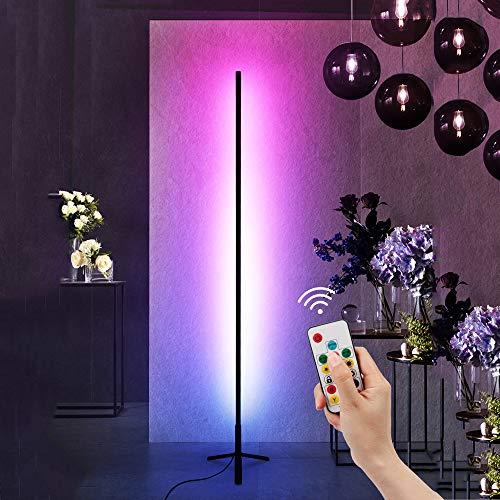 Crayom Lámpara de pie RGB Que Cambia de Color LED Trípode Plegable Luz de Piso retráctil Decoración de Estilo Minimalista Moderno Lámpara de pie Regulable con Control Remoto para Sala de Juegos Sala