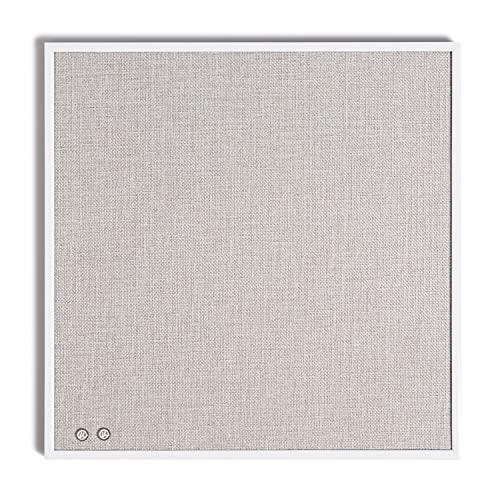 U Brands Tablón de anuncios de lino con marco de metal blanco, 35,5 x 35,5 cm