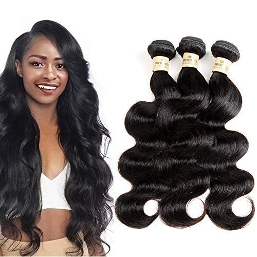 VIOLET Brazilian Human Hair Body Wave Bundles Cheap Unprocessed Body Wavy Weave Hair Extensions for Women Natural Black Color 3 Bundles/Package (10 12 14inch,300g/10.5OZ)