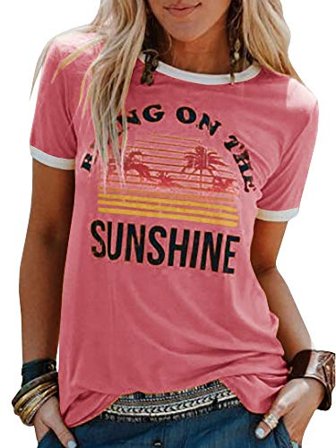 Chuanqi Women Bring On The Sunshine Printed T-Shirt Causal Loose Christian Graphic Tees Short Sleeve Summer Blouses Tops (X-Large, Pink)