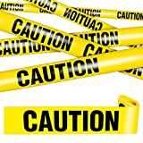 Nastri Avvertenza Gialli di Halloween 3 Pollici Nastro per Barricate di Avvertenza in Giallo Testo Nero in Grassetto Largo Rotolo di Nastro Adesivo Decorazioni per Casa Scherzi (4 Borse)