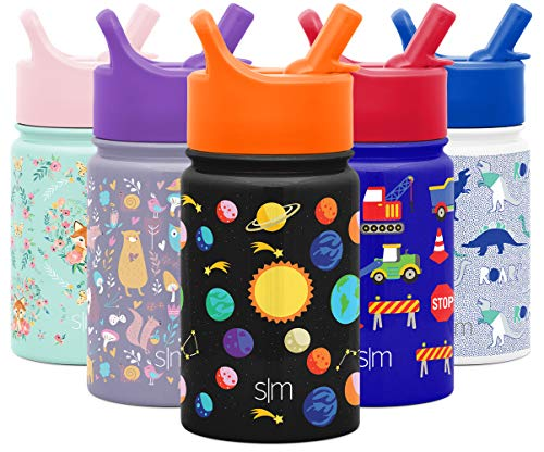 Simple Modern 10oz Summit Kids Water Bottle Thermos with Straw Lid - Dishwasher Safe Vacuum Insulated Double Wall Tumbler Travel Cup 18/8 Stainless Steel -Solar System