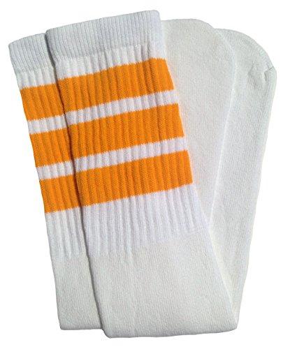 skatersocks 30 Inch Tube Socken Damen Overknee Kniestrümpfe weiß gelb gestreift