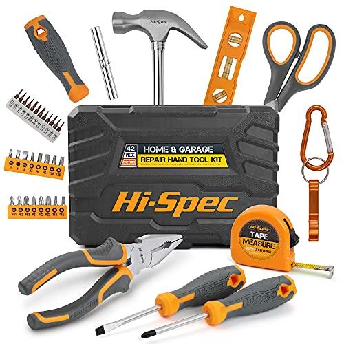 Hi-Spec 42-teiligesHaushaltswerkzeugset. Kompletter Satz von Reparatur- und Wartungshandwerkzeugen mit Hammer, Zange und Schraubendreher. Transportiert in einer tragbaren Box