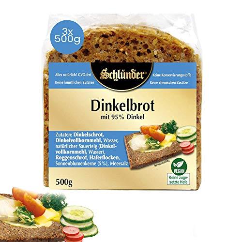 Schlünder Brot, Dinkelbrot mit 95% Dinkel, ohne zugeführte Hefe, Dinkelkeimbrot nährstoffreich, vegan, 3 x 500 g