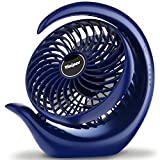 viniper Small Battery Desk Fan, USB Battery Operated Fan : 3 Speeds, 180° Rotation & Strong Wind Portable Fan, 8-24 Hours Longer Working, Small but Powerful for Home/Office/Travel - Blue