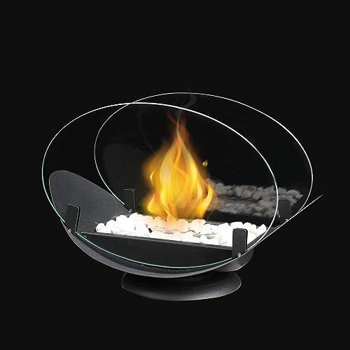 JHY DESIGN Pot Ovale de Table à feu Ovale avec Verre Double Face Cheminée de Table Portable de 32 cm de Longueur - Ch...