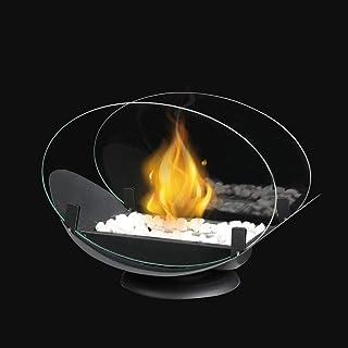 JHY DESIGN Pot Ovale de Table à feu Ovale avec Verre Double Face Cheminée de Table Portable de 32 cm de Longueur - Cheminé...