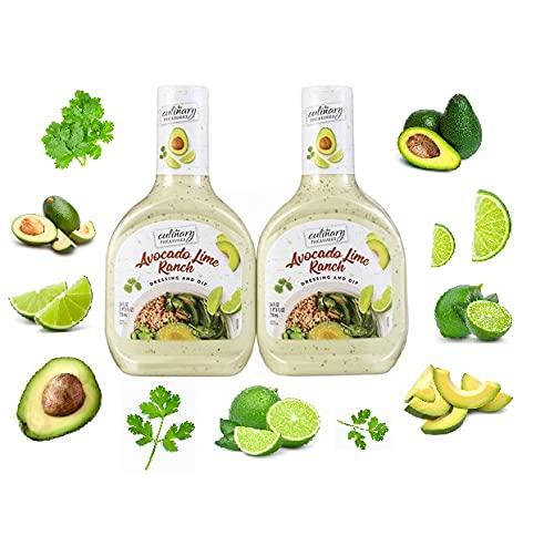Avocado Lime Ranch Dressing & Dip - 2 Bottles 24 FLOZ (710ml) Each of Culinary Treasures