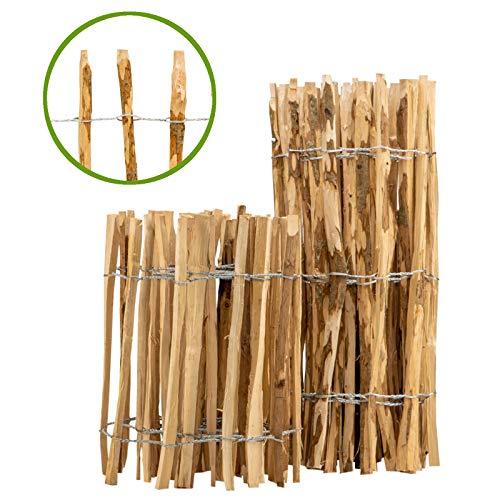 BooGardi Staketenzaun · 12 Größen · 120cm hoch · 5m lang · Lattenabstand 7-9cm · Kastanienzaun aus Haselnuss Gartenzaun Holzzaun