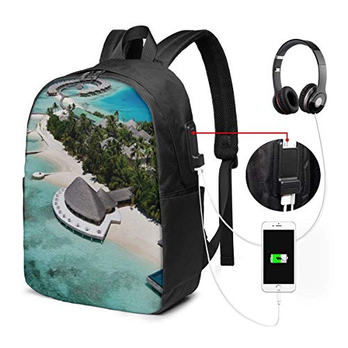 """WEQDUJG Mochila Portatil 17"""" Pulgadas Mochila Hombre Mujer con Puerto USB, Resort Maldives Beach Mochila para El Laptop para Ordenador del Trabajo Viaje"""