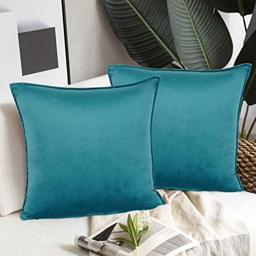 Alishomtll Juego de 2 fundas de cojín de terciopelo liso suave de 45 x 45 cm, decoración de color turquesa para sofá, color azul hielo