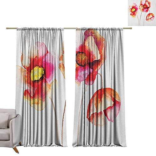 Print patroon Gordijnen voor kamer donkere panelen voor woonkamer slaapkamer papaver, scharlaken bloemen en knoppen op een landelijk veld verfrissende natuur van land thema scharlaken groen wit