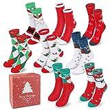 Tencoz 8 Pairs Christmas Holiday Socks Set, Slipper Socks Cotton Knit Crew Xmas Socks with Gift Box for Women Girls Novelty Red