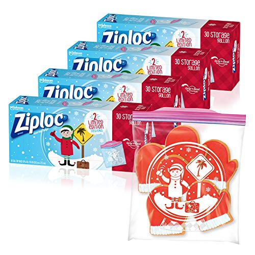 Ziploc Storage Bags with New Grip 'n Seal Technology, for Food, Sandwich, Organization and More, Gallon, 120 Count, Holiday Designs
