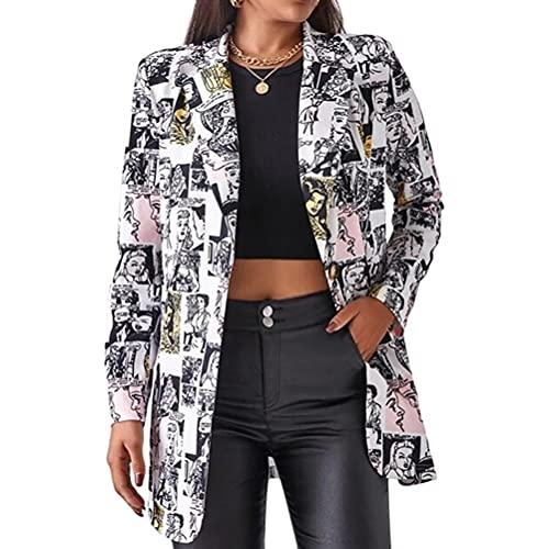 ORANDESIGNE Damen Casual Lange Ärmel Vorne Offen Blazer Poster Blumenmuster Leopardenmuster Seitentaschen Arbeit Suit Büro Jacke F Grau XXL