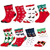 Fixget Calcetines de Navidad, 8 Pares Navidad de invierno Calcetines de Algodón, Calcetines Térmicos de Navidad con Hombre Mujer,el Mejor de Navidad Para la Familia
