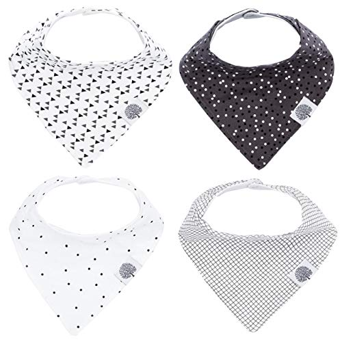 Parker Baby Bandana Drool Bibs - 4 Pack Gray Baby Bibs for Boys,...