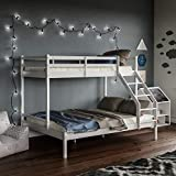 Vida Designs Sydney Triple Bunk Bed, Three Sleeper, Solid Pine Wood Frame, Kids Children, Double 4 Foot 6, Single 3 Foot, White