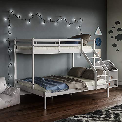 Vida Designs Sydney Etagenbett Stockbett 3-Personen, Solides Pinienholz Bettgestell, Kids Kinder, Doppelbett 135 x 190 cm, Einzelbett 90 x 190 cm, Weiß