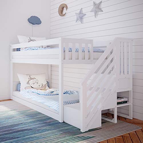 Max & Lily Twin Low Bunk Bed with Staircase, White