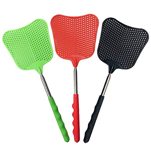 foxany Extendable Fly Swatters, Durable Plastic Fly Swatter Heavy Duty Set, Telescopic Flyswatter with Stainless Steel Handle for Indoor/Outdoor/Classroom/Office (3 Pack)