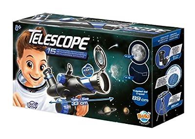 Un télescope d'initiation avec une notice de 15 activités. Découvre le ciel étoilé, les planètes et les cratères lunaires. Le télescope permet des observations la journée Lentille de 50 mm de diamètre et 2 oculaires de 20 mm et 4 mm interchangeables....