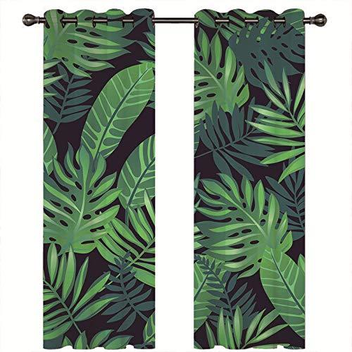 cortinas salon hojas plantas nórdicas