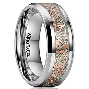 King Will AURORA 8mm Rose Gold Celtic Dragon Aurora Luminou Glow Titanium Wedding Ring for Men Women  6.5