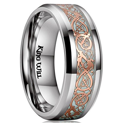 King Will Dragon 8mm Rose Gold Celtic Dragon Luminou Glow Titanium Wedding Ring for Men Women 11