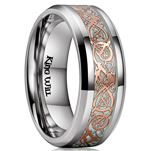 King Will DRAGON 8mm Rose Gold Celtic Dragon Luminou Glow Titanium Wedding Ring for Men Women 10.5