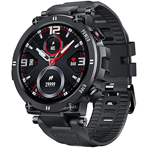 Smartwatch Hombre Mujer Reloj Inteligente con Pulsómetro, Presión Arterial, Podómetro Pulsera Actividad Impermeable IP68 Relojs Inteligentes para Android iOS (Negro) ✅