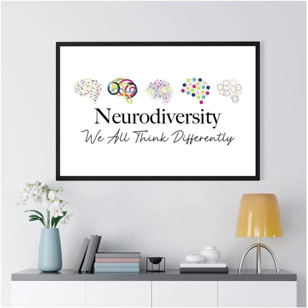 BINGJIACAI Neurodiversity Poster We All Think Differently Quote Canvas Painting Brain Wall Art Picture Print Therapists Gifts Office Decor-42x60cm Unframed