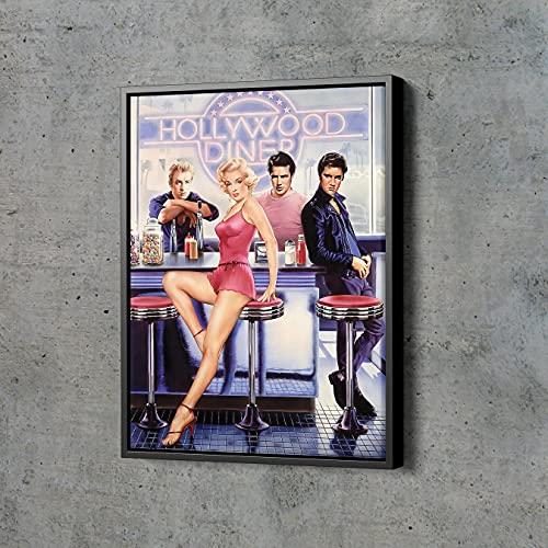 Hollywood Diner Poster Marilyn Monroe Elvis Presley James Dean Marlon Brando Hand Made Poster Canvas Print Wall Art Home Decor (Black Floating Frame, 30'x45')