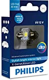 Philips 129404000KX1 X-tremeUltinon LED luz interior para coche C5W 30mm Festoon 4000K 12V, 1 unidad