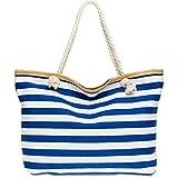 Caspar TS1025 große XXL Damen Marine Strandtasche, Farbe:blau, Größe:One Size