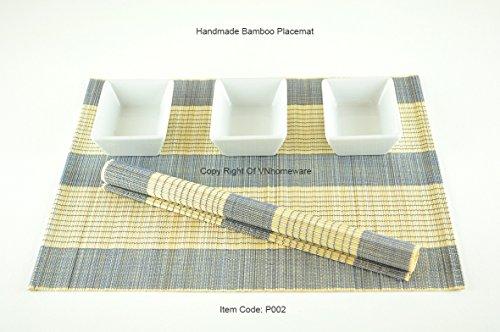 faite à la main en bois de bambou Set de table Sets de table – Lot de 6 – Blue-cream (Marron clair) – P002, Bois dense, bleu, 30 x 40 cm