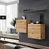 ASM SWITCH I - Juego de aparador con estante de pared (130 cm de ancho, dos armarios cuadrados, puertas con pulsador de clic, roble Wotan, color gris brillante