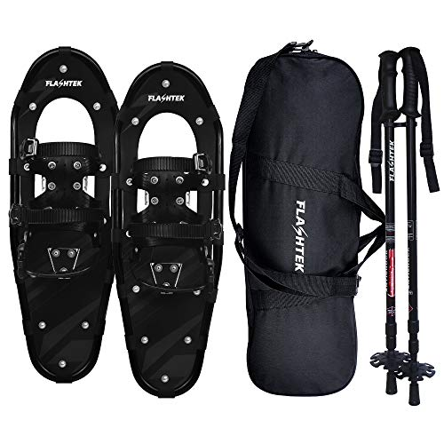FLASHTEK 21/25/30 Inches Light Weight Snowshoes for Women Men Youth Kids, Aluminum Terrain Snow Shoes with Trekking Poles and Carrying Tote Bag (Black, 30')