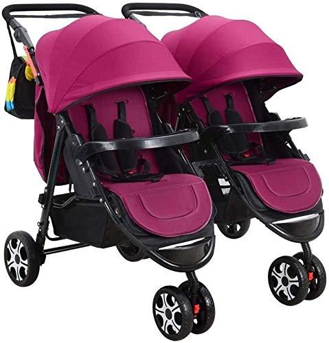Atten Doble cochecito de bebé, Cochecito de tres ruedas, gemelas tándem cochecito del paraguas con respaldo ajustable, reposapiés, 5 Puntos de cinturones de seguridad, Diseño plegable for el recién na