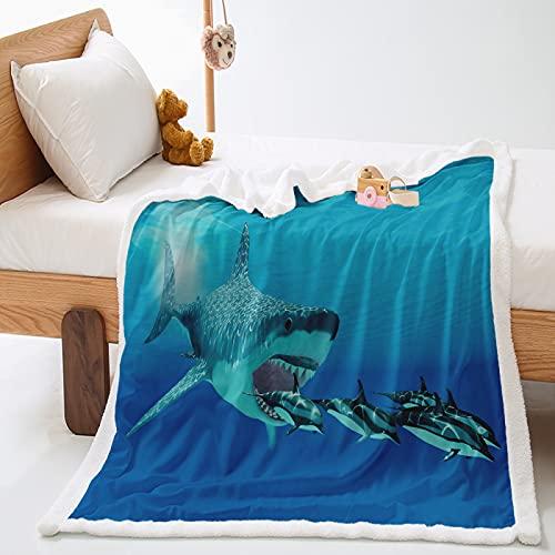 KLily Manta De La Serie del Océano Que Imprime La Manta De La Decoración del Hogar del Patrón De La Playa del Tiburón Lavable
