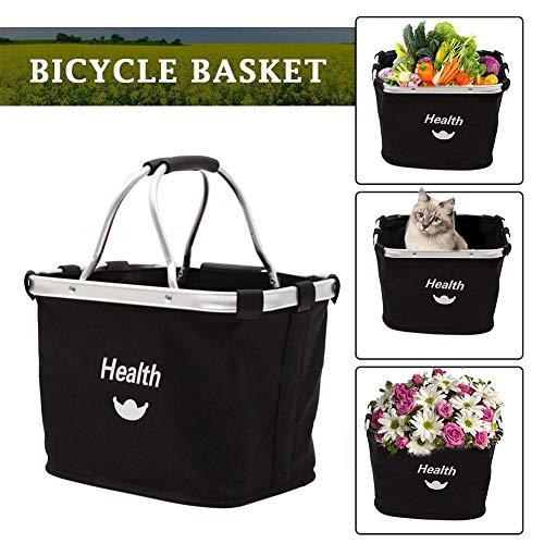Fahrradkorb, faltbar, für kleine Haustiere, Katzen, Hunde, Fahrradtasche, abnehmbarer Fahrradlenkerkorb, Einkaufskorb aluminiumfarben