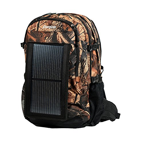 PowerKeep Energizer Wanderer, 30L Solar Backpack w/ 10000mAh Battery, Rugged and Flexible Solar Panel, powerbank, Hydration Ready (Green)