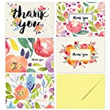 40 Floral Thank You Notes for Your Wedding, Baby Shower, Business, Anniversary, Bridal Shower - Watercolor Flower Cards with Envelopes - Blank Inside… (Thank You)