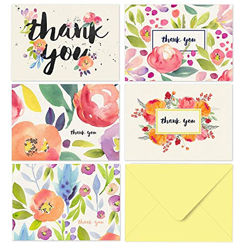 Fresh & Lucky Thank You Cards Set - Pack of 40 with Yellow Envelopes, Greeting Card for All Occasions, Bridal/Baby Shower Gifts, Birthday, Wedding, Mother's Day, Water Colors Boho Floral Designs, 4X6