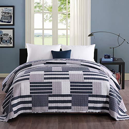 WOLTU® Tagesdecke Bettüberwurf 170x210cm, Steppdecke Patchwork Wendedesign, Bedspreads aus Mikrofaser, überwurfdecke Einzelbett unterfüttert & gesteppt, Blau+Weiß